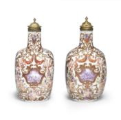A very rare pair of Meissen gilt-metal-mounted bottles decorated by Ignaz Bottengruber, circa 172...