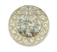 A Castelli maiolica armorial small dish, first half 18th century