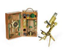 A J. Swift & son portable polarising monocular microscope, English, late 19th century,
