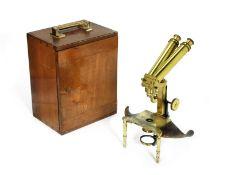 A J. Swift & son brass binocular dissecting microscope, English, late 19th century,