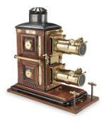 A fine Riley Brothers Ltd bi-unial magic lantern, English, late 19th century,