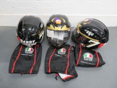 Three AGV Barry Sheene replica helmets ((3))