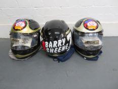 Three Arai Barry Sheene replica helmets ((3))