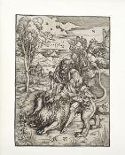 Albrecht Dürer (German, 1471-1528) Samson Rending the Lion Woodcut, circa 1496, on laid with wat...