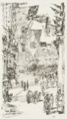 Childe Hassam (American, 1859-1935) Avenue of the Allies Lithograph, 1918, on cream laid, signed...