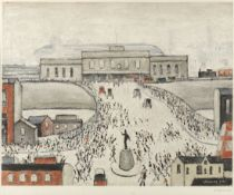 Laurence Stephen Lowry R.A. (British, 1887-1976) Station Approach Offset lithograph printed in c...