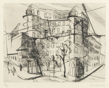 Stanley William Hayter (British, 1901-1988) Place Falguière, from 'Paysages Urbains' Engraving a...