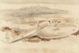 Paul Nash (British, 1889-1946) The Raider On The Moors Lithograph printed in colours, 1940, on wo...