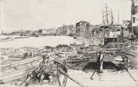 James Abbott McNeill Whistler (American, 1834-1903) The Pool Etching with drypoint, 1860, on cre...