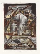 Riva Helfond (American, 1910-2002) In Construction Lithograph printed in colours, 1941, on wove,...