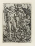 Heinrich Aldegrever (German, 1502-died circa 1561) Hercules fighting the Hydra of Lernea, from 'T...
