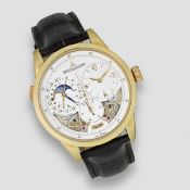 Jaeger-LeCoultre. A fine and unusual 18k rose gold manual wind centre seconds wristwtch with 6th ...