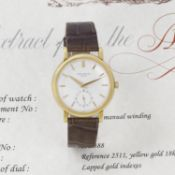 Patek Philippe. A fine and rare 18k gold manual wind wristwatch Calatrava, Ref: 2511, 1953