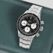 Rolex. A fine and rare stainless steel manual wind chronograph bracelet watch Cosmograph Daytona...