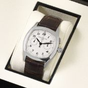 Patek Philippe. A fine and extremely rare stainless steel manual wind split second single button ...