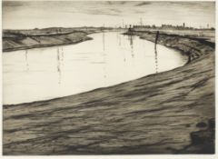 Christopher Richard Wynne Nevinson A.R.A (1889-1946) Ebb Tide on the Camber Drypoint, 1918, on F....