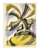 Sybil Andrews CPE (British/Canadian, 1898-1992) The Windmill Linocut printed in Chinese orange, p...