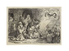 Rembrandt Harmensz van Rijn (1606-1669) The Angel departing from the Family of Tobias Etching, 16...