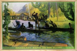 GERALD SPENCER PRYSE (1881-1956) MAHOGANY RAFTS ON THE OLUWE, The Empire Marketing board