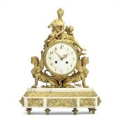 A late 19th century French ormolu and marble mantel clock 'Hope nursing Love' 3