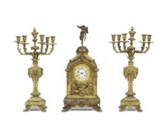 A Large and impressive Second Half of the 19th Century French Brass Mantel Clock with two Associa...