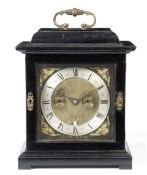 An interesting late 17th century ebonised table clock James Clowes, Londini fecit 3