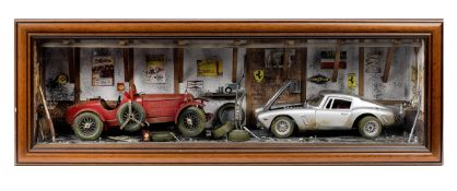 A limited edition garage diorama by Classic Car Art Ltd, featuring two models of an Alfa Romeo 8C...