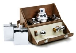 A leather-cased traveller's cocktail bar set for eight persons by P.H.Vogel & Co., British,