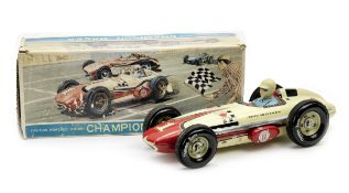 A rare boxed 'Champion Racer Indianapolis Special' friction-powered tin-plate toy by Yonezawa, Ja...