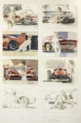 Dexter Brown (1942- ), 'Ferraris and Nudes', two large framed displays of preparatory sketches, ...