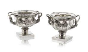 A pair of George IV silver 'Warwick Vase' wine coolers Paul Storr, London 1821 (2)