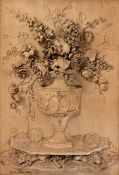 A rare late 18th century relief-carved lime wood panel depicting a vase of flowers, signed and da...
