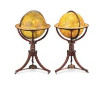 A 19th Century pair of Terraqueous and Celestial Library Globes on stand by John Addison, 111 cm ...