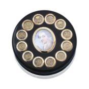 A George III gold-mounted tortoiseshell portrait box