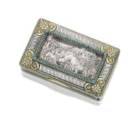 A French parcel-gilt silver box the panel possibly by Jacques Frédéric Kirstien, the bo...