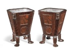 A pair of Regency 'Egyptian revival' mahogany and ebonised line-inlaid wine coolers (2)