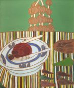 Bryan Pearce (British, 1929-2007) Still Life with Striped Tablecloth