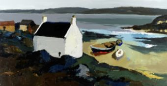 Donald McIntyre (British, 1923-2009) White Cottage and Boats