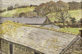 Christopher Bramham (British, 1952) Roofs in the Rain, Cornwall (Painted 1999-2002)
