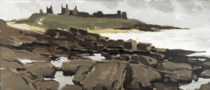 Donald McIntyre (British, 1923-2009) Grey Day, Dunstanburgh Castle