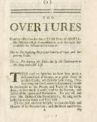 SCOTLAND - BANKING [LAW (JOHN, attributed to)] Two Overtures Humbly Offered to His Grace John Duk...
