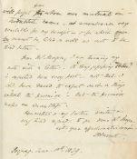 BROWNING (ELIZABETH BARRETT) Fine autograph letter signed ('EB Barrett'), the second and concludi...