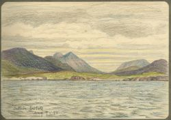 SCOTLAND - CATHARINE DOWMAN Album of coloured pencil views, titled 'Sketches [of Scotland] from t...