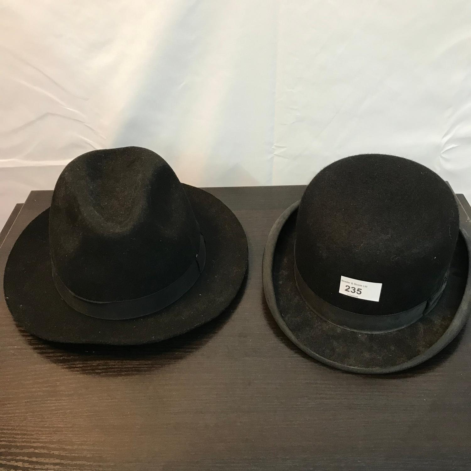 Antique Dunn & Co Piccadilly Circus London Bowler hat and Failsworth soft wool hat.