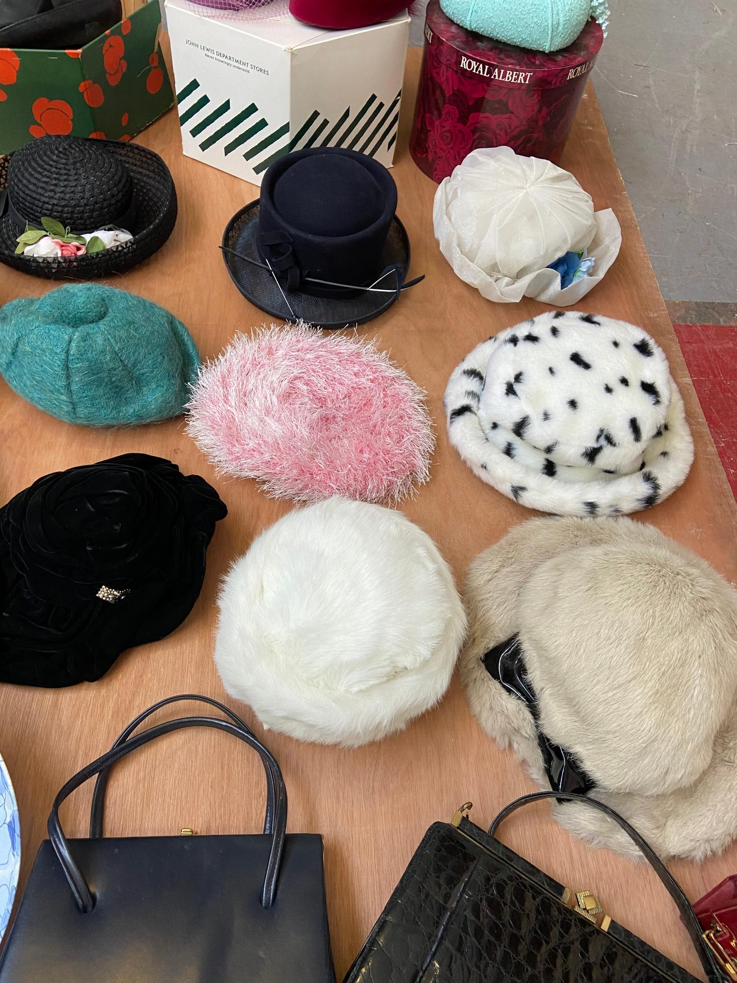Lot 643D - A collection of vintage dress/evening hats together with a collection of vintage clutch bags and