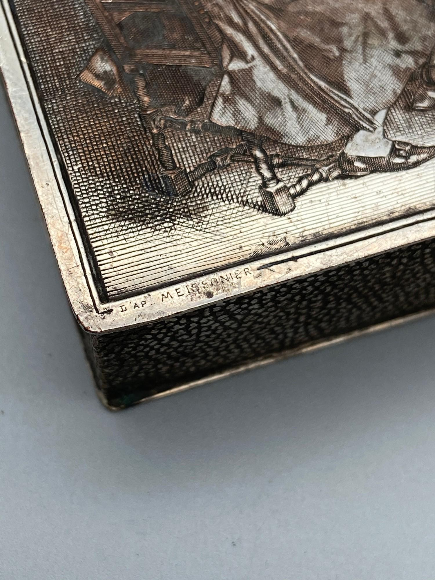 Lot 55 - A Very rare and unusual cigarette box depicting Meissonier- Les Trois Fumeurs. Showing an etched