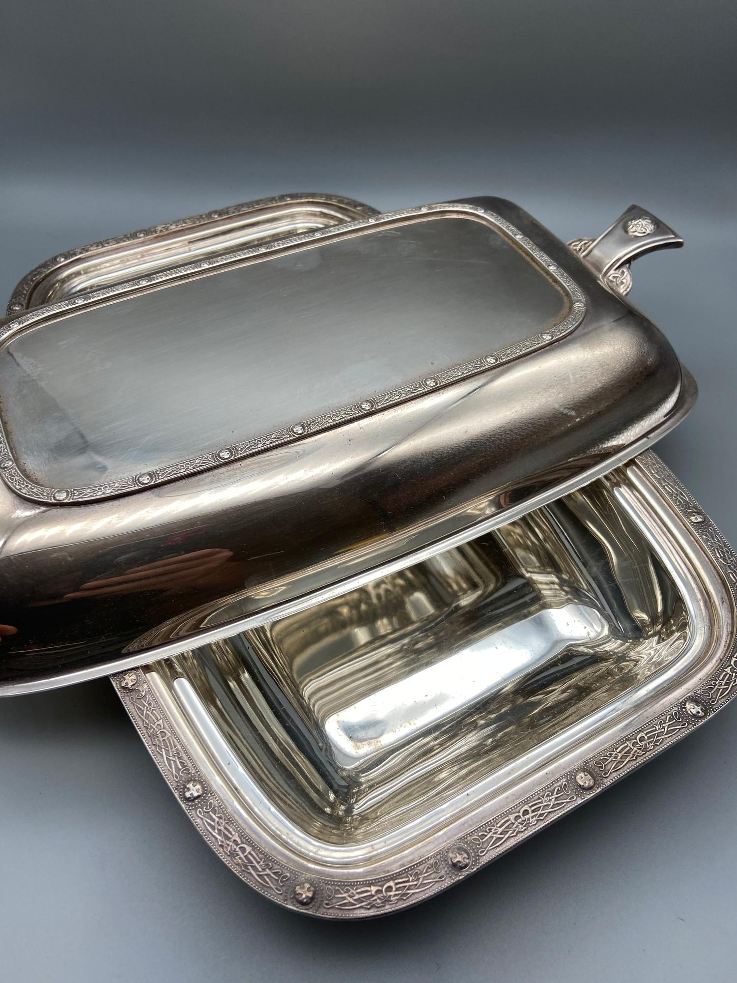 Lot 41 - Antique James Carr of Aberdeen silver plated Celtic design Lidded Tureen.
