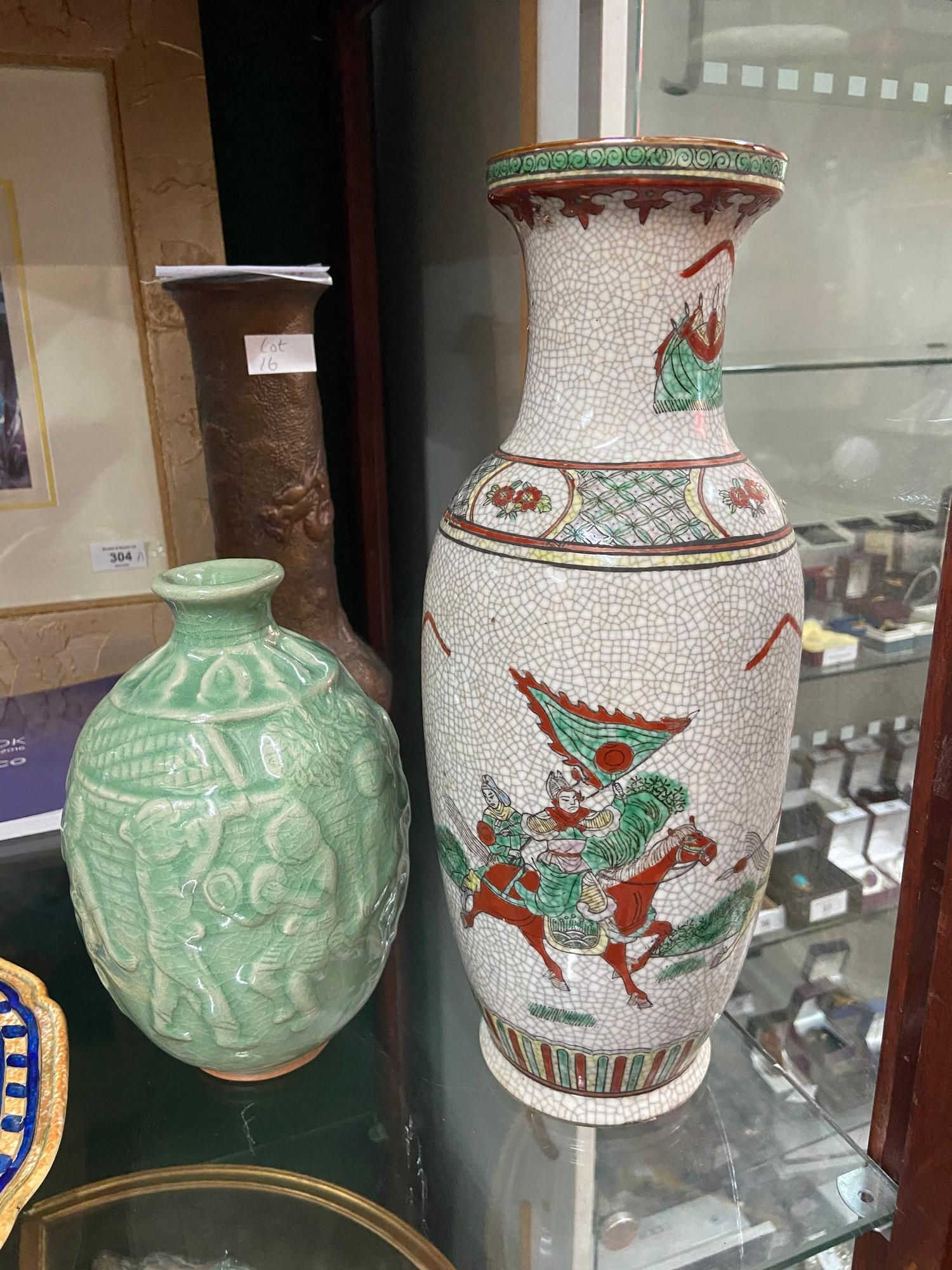 Lot 18 - Chinese Chenghua Nian Zhi brown etched marking vase. Designed with hand painted warrior figures