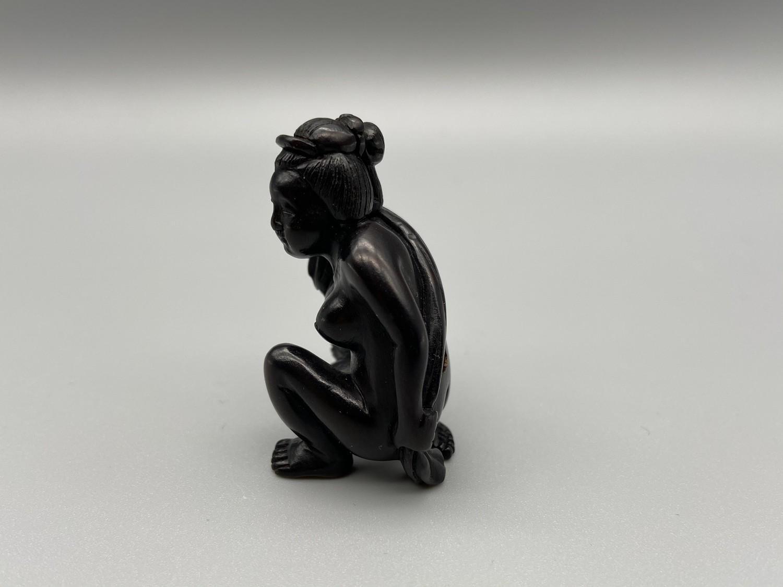 Lot 45J - Japanese hand carved netsuke of a nude geisha washing [4.5cm]