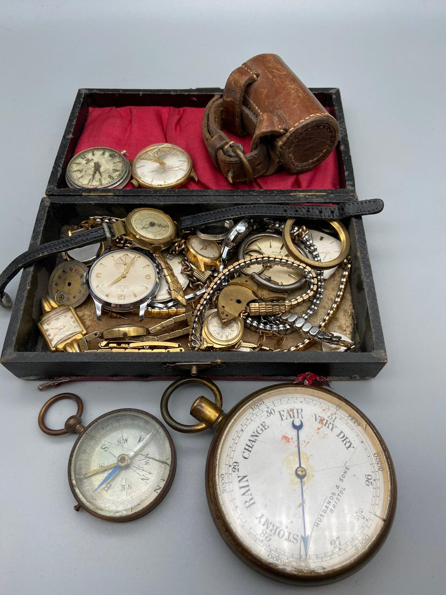 Lot 54 - A Quantity of antique and vintage watches which includes Husbands & Sons Bristol pocket barometer,